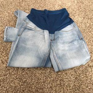 Light denim maternity leggings